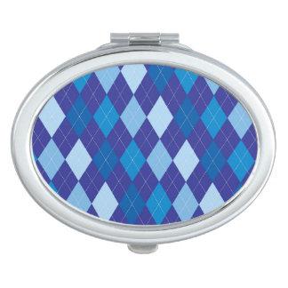 Blue argyle pattern travel mirrors