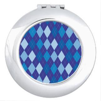 Blue argyle pattern vanity mirror