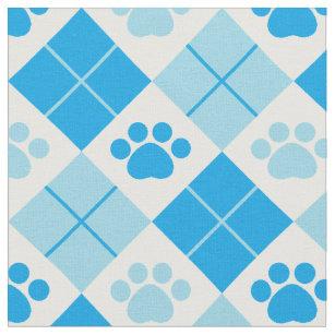 Blue Argyle Paw Print Pattern Fabric