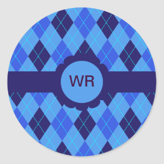 Blue argyle personalised initial R W stickers