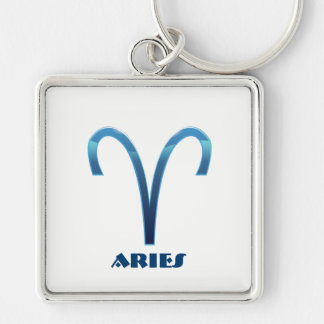 Blue Aries Zodiac Signs On White Key Ring