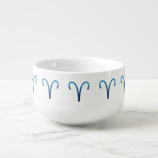 Blue Aries Zodiac Signs On White Soup Mug