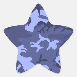 Blue army camouflage design pattern star sticker