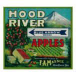 Blue Arrow Apple Crate LabelHood River, OR Poster