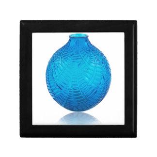 Blue Art Deco glass etched vase. . Gift Box