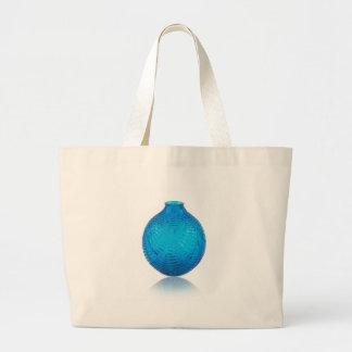 Blue Art Deco glass etched vase. . Large Tote Bag