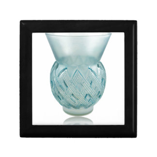 Blue Art Deco glass vase with etched design. Gift Box