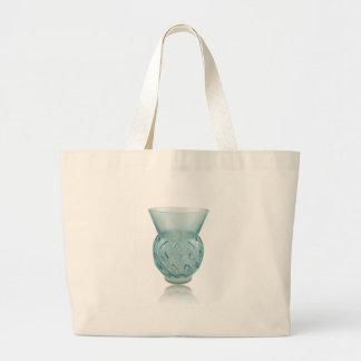 Blue Art Deco glass vase with etched design. Large Tote Bag