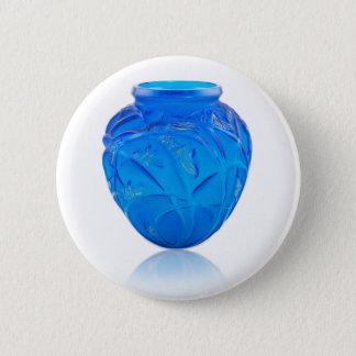 Blue Art Deco glass vase with grasshopper design. 6 Cm Round Badge