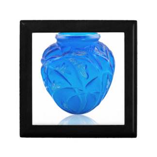 Blue Art Deco glass vase with grasshopper design. Gift Box