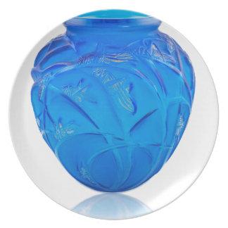 Blue Art Deco glass vase with grasshopper design. Plate