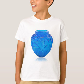 Blue Art Deco glass vase with grasshopper design. T-Shirt
