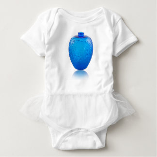 Blue Art Deco glass vase with leaves. Baby Bodysuit