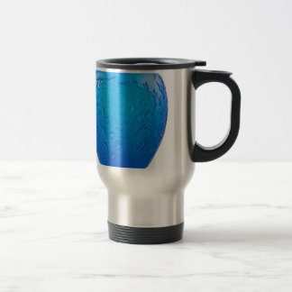 Blue Art Deco glass vase with leaves. Travel Mug
