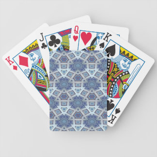 Blue Artistic Geometric Gear Like Pattern Bicycle Playing Cards