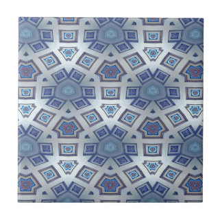 Blue Artistic Geometric Gear Like Pattern Ceramic Tile