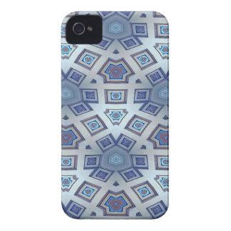 Blue Artistic Geometric Gear Like Pattern iPhone 4 Cover