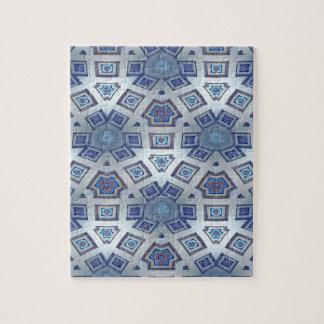 Blue Artistic Geometric Gear Like Pattern Jigsaw Puzzle