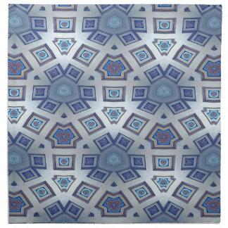 Blue Artistic Geometric Gear Like Pattern Napkin
