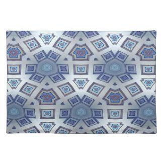 Blue Artistic Geometric Gear Like Pattern Placemat
