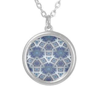 Blue Artistic Geometric Gear Like Pattern Silver Plated Necklace