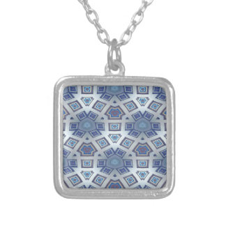 Blue Artistic Geometric Gear Like Pattern Silver Plated Necklace