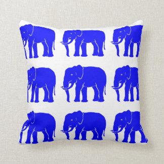 Blue Asian Elephants on Snow White Cushion