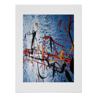 Blue Asian Painting Abstract Poster Print