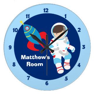 Blue Astronaut Spaceship Kids Large Clock