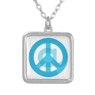 """Blue """"At Peace"""" Sign - At Symbol + Peace Sign Square Pendant Necklace"""