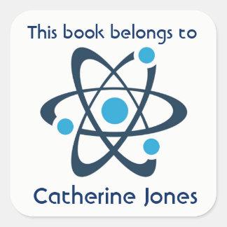 Blue Atom Science Design Bookplate Sticker