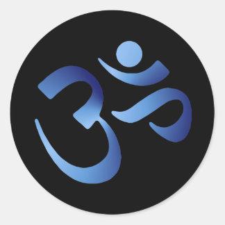 Blue Aum Round Sticker