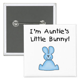 Blue Auntie's Little Bunny Tshirts and Gifts Pinback Buttons