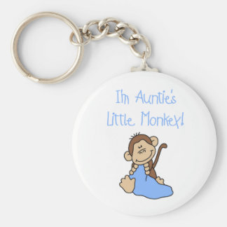 Blue Auntie's Monkey Basic Round Button Key Ring