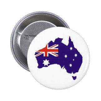 Blue Aussie Map Flag 6 Cm Round Badge