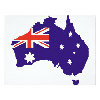 Blue Aussie Map Flag Card