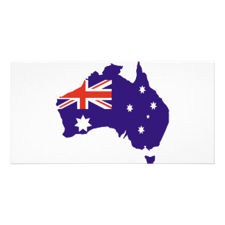 Blue Aussie Map Flag Personalized Photo Card