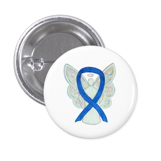 Blue Awareness Ribbon Angel Customised Button Pins