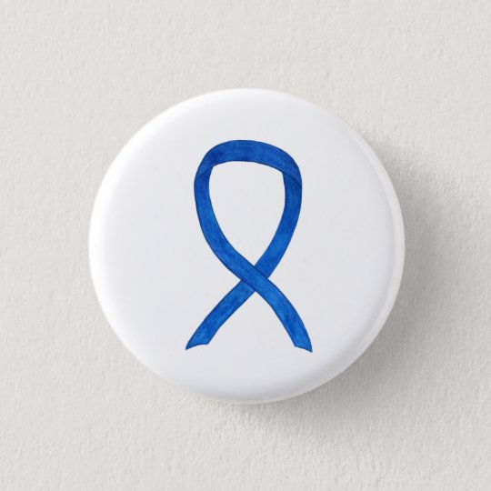 Blue Awareness Ribbon Art Customised Message Pins