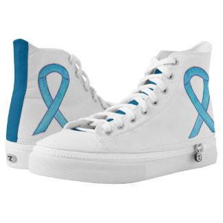 Blue Awareness Ribbon Custom Design Shoes