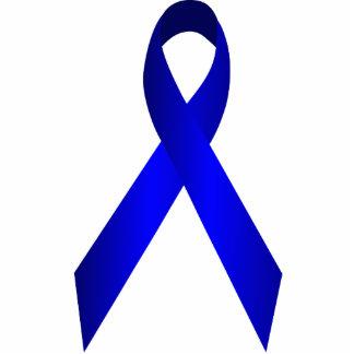 Blue Awareness Ribbon Pin Photo Sculpture Badge