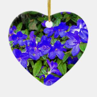 Blue Azalea Flowers Ceramic Ornament