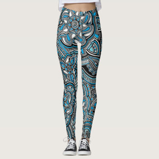 Blue aztec zen doodle pattern leggings