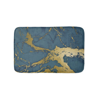 Blue Azul and Gold Marble Bath Mat