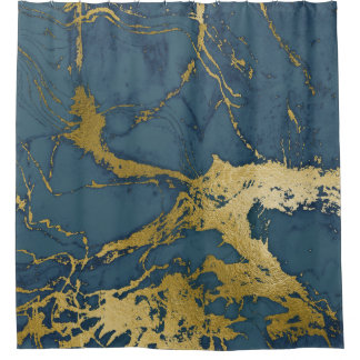 Blue Azul and Gold Marble Shower Curtain