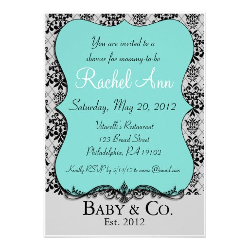 blue baby and co shower invitation card 5 x 7 invitation card