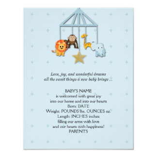 Blue Baby Animal Mobile Baby Announcement