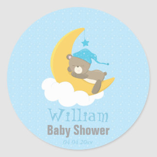 Blue Baby Bear Sleeping On The Moon - baby shower Round Sticker