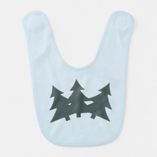 Blue Baby Bib with three Pine Trees