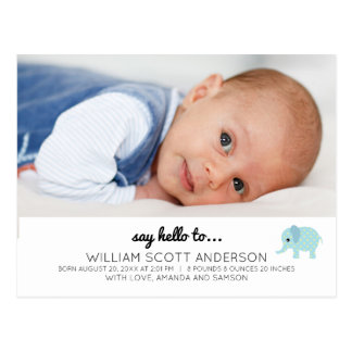 Blue Baby Boy Birth Announcement Photo Postcard